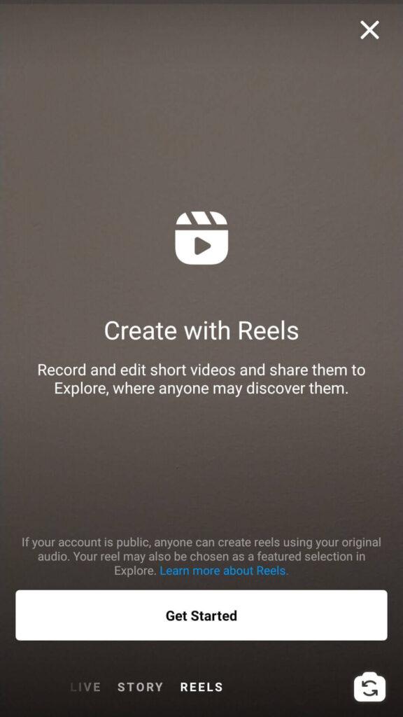 Instagram Reels introduktion skärm