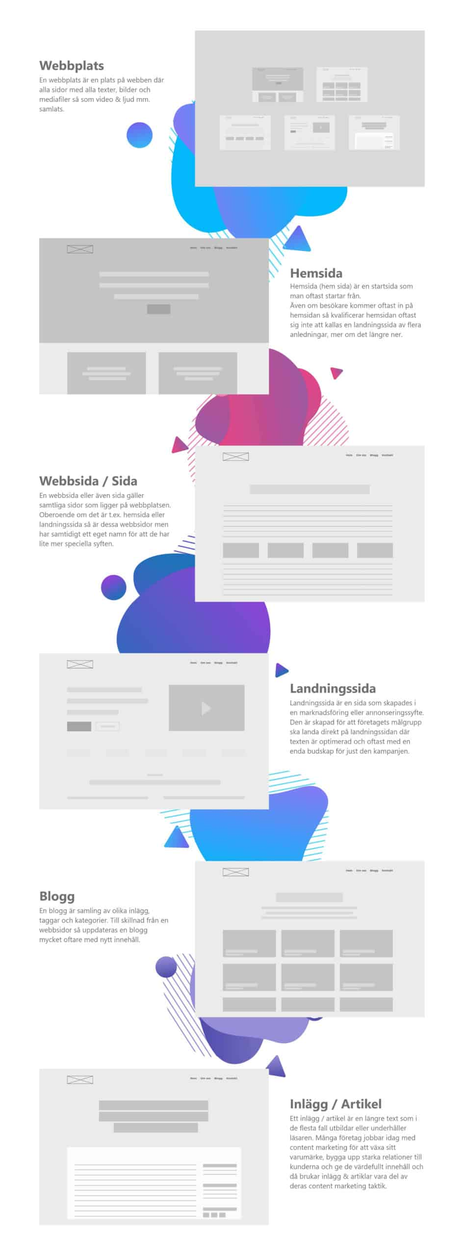 Skillnaden mellan webbplats, hemsida, landningssida och mycket mer - infographics av digital byrå Foomle design