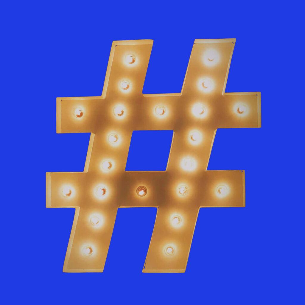 Hashtag av lampor - Sociala media markandsföring